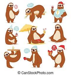 動物喜歡, 設計, 慢, 荒野, 矢量, 人類, 懶惰, 懶惰, 卡通, 套間, kawaii, 姿態, 字, 下來, illustration., 叢林, 懶惰, 漂亮, 哺乳動物, 不同