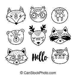 動物, いたずら書き, faces., 黒, 手, 白, 引かれる, 線画
