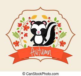 動物, かわいい, 秋