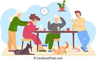 動物, ねこ, livingroom, 幸せ, 遊び, 板, 家族, テーブルのゲーム, 犬, ∥(彼・それ)ら∥, モデル