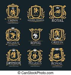 動物, アイコン, heraldic, 皇族, 隔離された, ベクトル