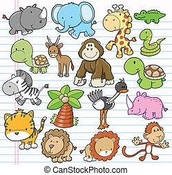 動物, イラスト, サファリ, ベクトル