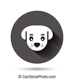 動物, イラスト, ペット, アイコン, 黒, 影, concept., 長い間, ビジネス, 頭, 平ら, ベクトル, かわいい, style., effect., 犬, 円, ラウンド, 背景, ボタン