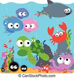 動物, カラフルである, イラスト, ベクトル, sea., 海, 下に, 幸せ