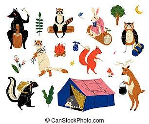 動物, キャンプ, ハイキング, 旅行, 持つこと, イラスト, ∥あるいは∥, ベクトル, コレクション, 特徴, 旅行, 冒険