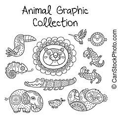 動物, グラフィック, コレクション, ライン