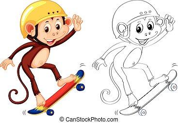 動物, サル, アウトライン, skateboarding