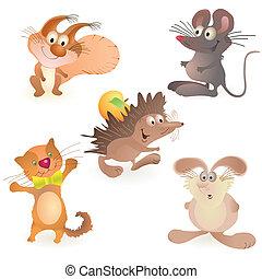 動物, -, セット, 5, 面白い, マウス