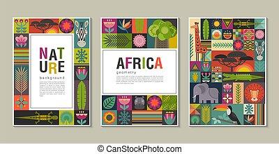 動物, パッチワーク, アフリカ, 最新流行である, 漫画, モザイク, 創造的, design., 幾何学的, カード, コレクション, ベクトル