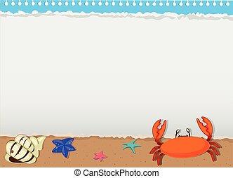 動物, ボーダー, デザイン, 海