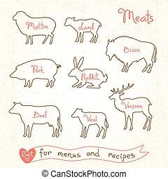 動物, メニュー, 子羊, バイソン, 肉, うさぎ, シルエット, シンボル, セット, プロダクト, マトン, パッケージ, ポーク, デザイン, 牛肉, 調理法, 図画, 子牛肉, シカの肉