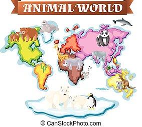 動物, 中に, 別, 部分, の, 世界, 上に, 地図