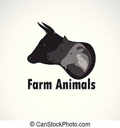 動物, 動物, icon., editable, ロゴ, 農場, ベクトル, illustration., 容易である, バックグラウンド。, sheep, 牛, デザイン, 白, 層にされる, グループ, animal.