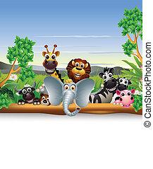 動物, 卡通, 由于, 空白徵候