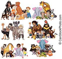 動物, 子供, セット