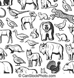 動物, 季節, 捜索, seamless, パターン, 鳥