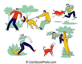 動物, 攻撃的である, ベクトル, 出産, マレ, 線である, characters., 逃げる, イラスト, concept., 攻撃, 怒る, 犬, モデル, 人々, 犬, 木。, 吠える, handyman, 人, かむこと, 小包, 手