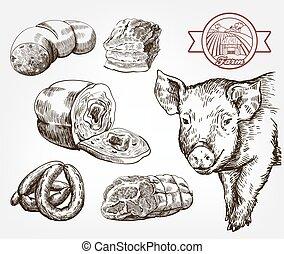 動物, 灰色, husbandry., ベクトル, に対して, products., 自然, スケッチ, セット, pig., 肉, 頭
