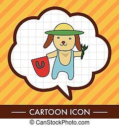 動物, 犬, 夏, 漫画, 主題, 要素