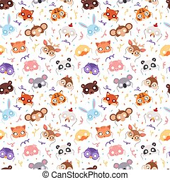 動物, 狂歡節面罩, 矢量, 集合, 節日, 裝飾, 化妝舞會, 矢量, seamless, pattern.