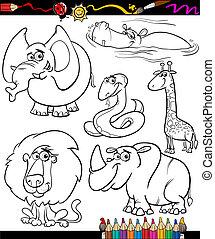 動物, 着色, セット, 本, 漫画