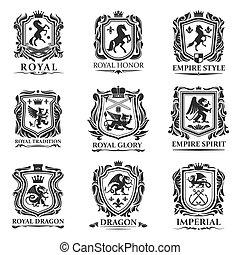 動物, 紋章学, 皇族, 保護, heraldic, 生きもの