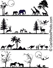 動物, 背景, セット, ベクトル
