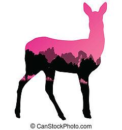 動物, 自然, 抽象的, 鹿, イラスト, 雌鹿, シルエット, ベクトル, 森林, 背景, 野生, シカの肉, 風景