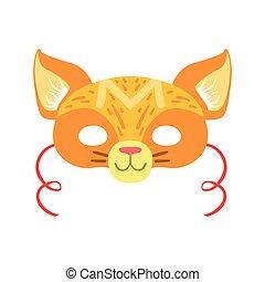 動物, 要素, マスク, 頭, ねこ, 変装, カーニバル, 子供, 赤, 衣装