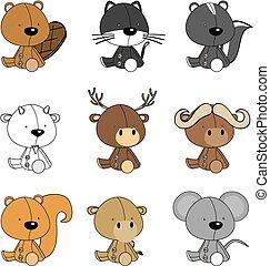 動物, 赤ん坊, かわいい, セット, 漫画
