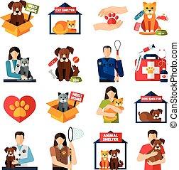 動物, 避難所, アイコン, セット