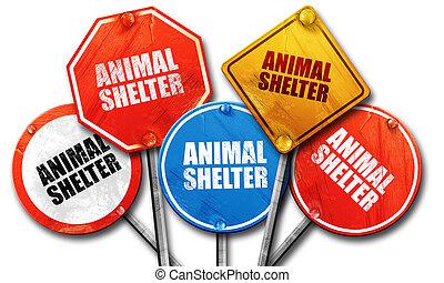 動物, 避難所, 3d, レンダリング, 通りは 署名する