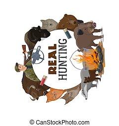 動物, 野生, 弾薬, ハンター, 探求, 開いた, 季節