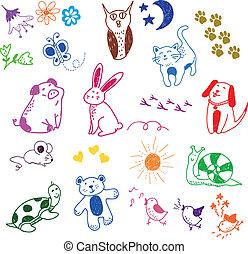 動物, doodles