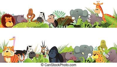 動物, frieze, 野生, seamless, アフリカ