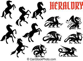 動物, heraldic, シルエット, 紋章, 神話である