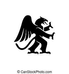 動物, heraldic, シルエット, gryphon, ドラゴン, 隔離された