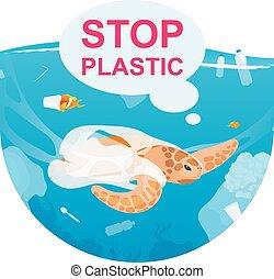 動物, icon., 白, ステッカー, clipart., 使い捨て可能, 隔離された, 海洋, 背景, pollution., イラスト, 概念, カメ, 無駄, 漫画, 平ら, 海洋, 海水, プラスチック, 捕えられた, パッケージ
