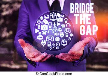 勝ちなさい, 印, 橋, 挑戦, テキスト, 写真, empowerment., 障害, 概念, 提示, gap., 勇気