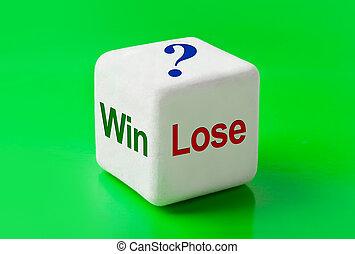 勝利, さいころ, 言葉, 失いなさい