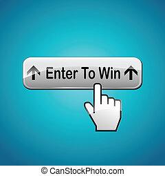 勝利, ボタン, ベクトル, 入りなさい