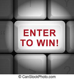 勝利, ボタン, 3d, 言葉, 入りなさい