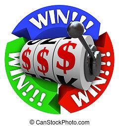 勝利, 円, ∥で∥, スロットマシン, 車輪, そして, お金, サイン