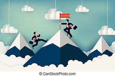 勝利, 成功, idea., leadership., flag., 行きなさい, 概念, 競争, 持ちなさい, obstacle., 上昇, ベクトル, 目的地, 漫画, 赤, イラスト, 山, ビジネスマン