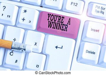 勝利, 背景, 執筆, pc, 白, の上, 空, winner., 第1 場所, キーボード, メモ, 概念, space., キー, ビジネス, チャンピオン, 単語, テキスト, ペーパー, あなた, ∥あるいは∥, コピー, レ, 競争