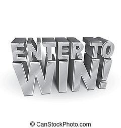 勝利, 3d, 言葉, イラスト, 入りなさい