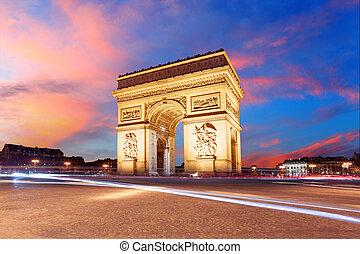 勝利, de, 弧, パリ, フランス