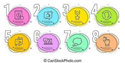 勝者, ジェスチャー, set., メダル, 道, アイコン, touchscreen, ベクトル, 泡, 微笑, 話, 強打, の上, 旅行, signs.