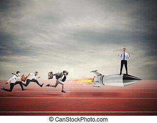 勝者, ビジネスマン, 上に, a, 速い, rocket., 概念, の, ビジネス, 競争