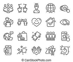 勝者, ビジネス, signs., アイコン, included, 世界的である, 友情, set., 人々, ベクトル, コップアイコン